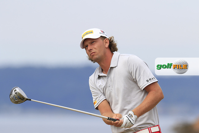 Marcel SIEM (GER) tees off the 18th tee during Thursday's Round 1 of the 2015 U.S. Open 115th National Championship held at Chambers Bay, Seattle, Washington, USA. 6/18/2015.<br /> Picture: Golffile | Eoin Clarke<br /> <br /> <br /> <br /> <br /> All photo usage must carry mandatory copyright credit (&copy; Golffile | Eoin Clarke)
