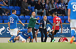 St Johnstone v FC Spartak Trnava...31.07.14  Europa League 3rd Round Qualifier<br /> Spartak Trnava boss Juraj Jarabek tries to calm things down<br /> Picture by Graeme Hart.<br /> Copyright Perthshire Picture Agency<br /> Tel: 01738 623350  Mobile: 07990 594431
