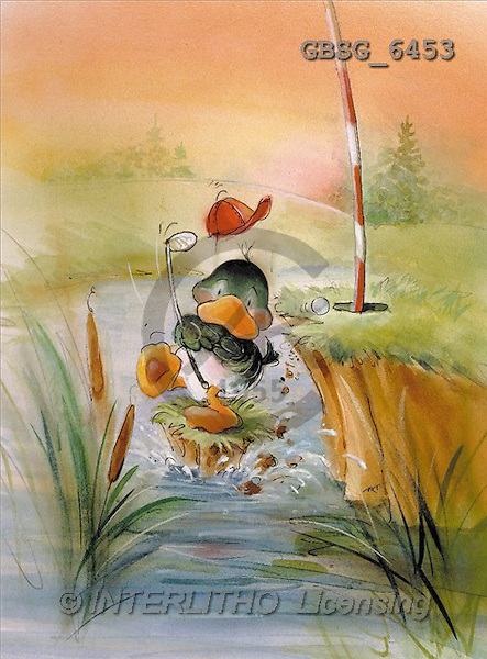 Ron, CUTE ANIMALS, Quacker, paintings, duck, golf(GBSG6453,#AC#) Enten, patos, illustrations, pinturas