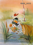 Ron, CUTE ANIMALS, Quacker, paintings, duck, golf(GBSG6453,#AC#) Enten, patos, illustrations, pinturas