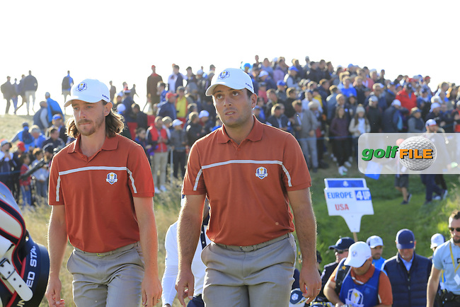 Tommy Fleetwood and Francesco Molinari (Team Europe) walk off the 13th tee during Saturday's Foursomes Matches at the 2018 Ryder Cup 2018, Le Golf National, Ile-de-France, France. 29/09/2018.<br /> Picture Eoin Clarke / Golffile.ie<br /> <br /> All photo usage must carry mandatory copyright credit (© Golffile | Eoin Clarke)