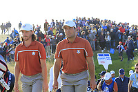 Tommy Fleetwood and Francesco Molinari (Team Europe) walk off the 13th tee during Saturday's Foursomes Matches at the 2018 Ryder Cup 2018, Le Golf National, Ile-de-France, France. 29/09/2018.<br /> Picture Eoin Clarke / Golffile.ie<br /> <br /> All photo usage must carry mandatory copyright credit (&copy; Golffile | Eoin Clarke)