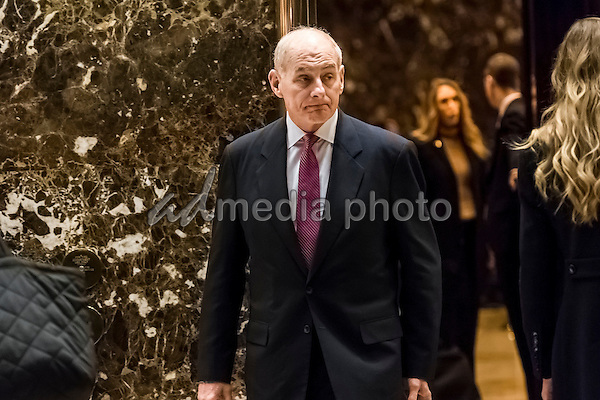 United States Secretary of Homeland Security-designate General John F. Kelly is seen leaving an elevator in the lobby of Trump Tower in New York, NY, USA on January 3, 2017. Photo Credit: Albin Lohr-Jones/CNP/AdMedia