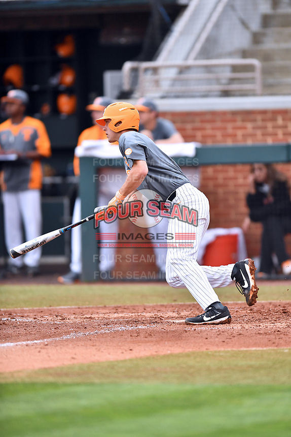 Tennessee Volunteers shortstop Andre Lipcius (13) swings at a pitch during a game against the University of North Carolina Greensboro (UNCG) Spartans at Lindsey Nelson Stadium on February 24, 2018 in Knoxville, Tennessee. The Volunteers defeated Spartans 11-4. (Tony Farlow/Four Seam Images)