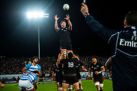 Scott Barrett goes up for lineout ball during the Rugby Championship match between the New Zealand All Blacks and Argentina Pumas at Trafalgar Park in Nelson, New Zealand on Saturday, 8 September 2018. Photo: Dave Lintott / lintottphoto.co.nz