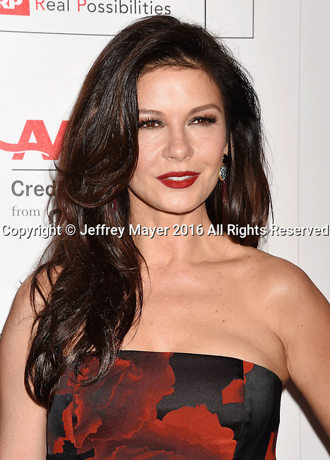 BEVERLY HILLS, CA - FEBRUARY 08: Actress Catherine Zeta-Jones attends AARP's Movie For GrownUps Awards at the Regent Beverly Wilshire Four Seasons Hotel on February 8, 2016 in Beverly Hills, California.