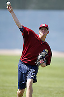 June 24, 2009:  Pitcher Clayton Cook (33) of the Mahoning Valley Scrappers throws in the outfield during practice before a game at Eastwood Field in Niles, OH.  The Mahoning Valley Scrappers are the NY-Penn League Short Season Class-A affiliate of the Cleveland Indians.  Photo by:  Mike Janes/Four Seam Images