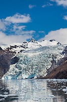 Coxe glacier flows out of the Chugach mountains in Prince William Sound, Alaska.