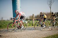 Tiesj Benoot (BEL/Lotto-Soudal) over the Varent cobbles<br /> <br /> 62nd E3 BinckBank Classic (Harelbeke) 2019 <br /> One day race (1.UWT) from Harelbeke to Harelbeke (204km)<br /> <br /> ©kramon