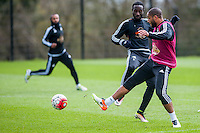 Wednesday  27 April 2016<br /> <br /> Pictured: Ashley Williams of Swansea City  ( right ) in action during training <br /> Re: Swansea City Training Session at the Fairwood Ground, Swansea, Wales, UK