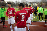 Turkiyemspor Berlin 3 BSC Rehberge 0, 22/11/2015. Willy-Kressmann-Stadion, Berlin Landesliga. Players of Turkiyemspor Berlin waiting at the side of the pitch at the club's ground the Willy-Kressmann-Stadion before they played BSC Rehberge in a Berlin Landesliga fixture which they won 3-0. The club was formed in 1978 to represent members of Berlin's large Turkish community and achieved several promotions and local cup wins throughout the first 15 years of their existence. Since then, financial problems have led to successive relegations and they now find themselves in the city's second division. Photo by Colin McPherson.