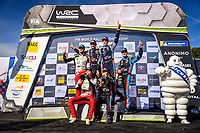 27th October 2019; Salou, Catalonia, Spain; World Rally Championship, Spain Rally;  The 3 top teams on the podium Winner Thierry Neuville and N.Gilsoul Hyundai Shell Mobis WRT	Hyundai, 2nd Ott Tanak and M.Jarveoja Toyota Gazoo Racing WRT	Toyota	 and 3rd placed Dani Sordo and C.del Barrio