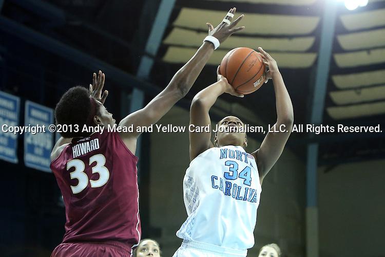 31 January 2013: North Carolina's Xylina McDaniel (34) and Florida State's Natasha Howard (33). The University of North Carolina Tar Heels played the Florida State University Seminoles at Carmichael Arena in Chapel Hill, North Carolina in an NCAA Division I Women's Basketball game. UNC won the game 72-62.