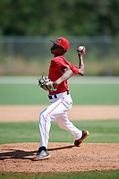 Markevian Hence during the WWBA World Championship at the Roger Dean Complex on October 18, 2018 in Jupiter, Florida.  Markevian Hence is a right handed pitcher from Pine Bluff, Arkansas who attends Watson Chapel High School and is committed to Arkansas.  (Mike Janes/Four Seam Images)