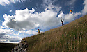 20/07/15<br /> <br /> Sisters, Freya (7) and Chloe (22) Kirkpatrick fly a kite in the sunshine above Lathkill Dale in the Derbyshire Peak District.<br /> <br /> All Rights Reserved: F Stop Press Ltd. +44(0)1335 418629   www.fstoppress.com.