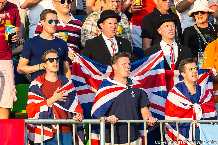 British fans sing Rule Brittania before Netherlands vs Great Britain in the gold medal final at the Rio 2016 Olympics at the Olympic Hockey Centre in Rio de Janeiro, Brazil.