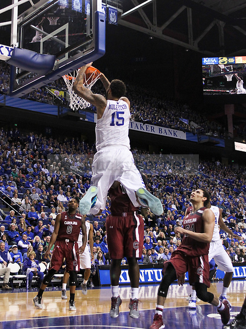 Kentucky center Willie Cauley-Stein dunks the ball during the first half of the University of Kentucky Men's Basketball game versus University of South Carolina basketball game at Rupp Arena in Lexington , Fl., on Saturday, February 14, 2015. . Photo by Jonathan Krueger | Staff