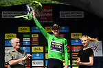 Wout Van Aert (BEL) Team Jumbo-Visma retains the points Green Jersey at the end of Stage 6 of the Criterium du Dauphine 2019, running 229km from Saint-Vulbas - Plaine de l'Ain to Saint-Michel-de-Maurienne, France. 14th June 2019.<br /> Picture: ASO/Alex Broadway | Cyclefile<br /> All photos usage must carry mandatory copyright credit (© Cyclefile | ASO/Alex Broadway)