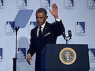 Washington, DC - October 2, 2014: U.S. President Barack Obama waves after addressing attendees of the Congressional Hispanic Caucus Institute's annual Awards Gala at the Washington Convention Center in the District of Columbia, October 2, 2014.  (Photo by Don Baxter/Media Images International)