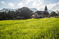 Rice paddy fields and a church at Lake Toba (Danau Toba), North Sumatra, Indonesia