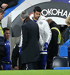 Chelsea's Diego Costa walks past manager Jose Mourinho to make his way to the bench<br /> <br /> Barclays Premier League - Chelsea v AFC Bournemouth - Stamford Bridge - England - 5th December 2015 - Picture David Klein/Sportimage