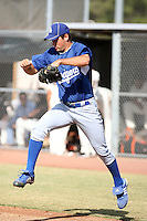 Zach Lee - Los Angeles Dodgers - 2010 Instructional League. Lee jumps over the foul line before taking the mound in an Instructional League game against the Giants in Scottsdale, AZ - 10/19/2010.Photo by:  Bill Mitchell/Four Seam Images..