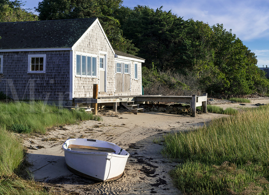 Boathouse and rowboat, Chatham, Cape Cod, Massachusetts, USA
