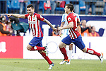 Atletico de Madrid's Angel Correa (l) and Lucas Hernandez celebrate goal during La Liga match. April 23,2016. (ALTERPHOTOS/Acero)
