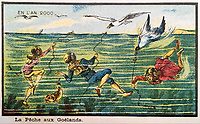 BNPS.co.uk (01202 558833)<br /> Pic:  Hansons/BNPS<br /> <br /> Many of the pictures have a sea theme, with this one showing divers feeding birds.<br /> <br /> A remarkable set of drawings which were produced in 1899 to predict the future have come to light - and some of the ideas are plain wacky.<br /> <br /> Their outlandish vision of the world in 2000 includes flying cars, whales pulling coaches and games of croquet under the sea.<br /> <br /> The illustrations were produced by a group of French artists for a Paris exhibition entitled 'En L'An 2000'. (In the year 2000)<br /> <br /> They did not foresee a man on the moon or the first computer, but predicted people would be playing tennis with bat wings.