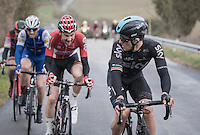 Michal Kwiatkowski (POL/SKY), Tim Wellens (BEL/Lotto-Soudal), Zdenek Stybar (CZE/QuickStep Floors) &amp; Greg Van Avermaet (BEL/BMC) broke free from the rest and are disputing the finale among them<br /> <br /> 11th Strade Bianche 201711th Strade Bianche 2017