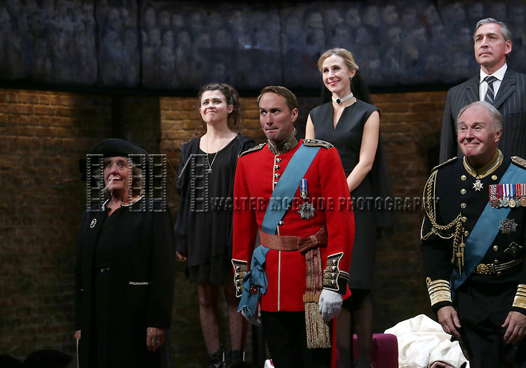 Margot Leicester, Tafline Steen, Oliver Chris, Sally Scott, Miles Richardson and Tim Pigott-Smith during the Broadway Opening Night performance curtain call bows for 'King Charles III' at the Music Box Theatre on November 1, 2015 in New York City.