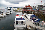 Boats in harbour at Bronnoy, Bronnoysund, Nordland, Norway