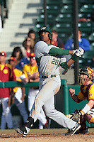 Adam Brett Walker ll of the Jacksonville Dolphins bats against the USC Trojans at Dedeaux Field on February 19, 2012 in Los Angeles,California. USC defeated Jacksonville 4-3.(Larry Goren/Four Seam Images)
