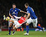 Arsenal's Alexis Sanchez tussles with Leicester's Matthew Upson<br /> <br /> Barclays Premier League- Arsenal vs Leicester City  - Emirates Stadium - England - 10th February 2015 - Picture David Klein/Sportimage