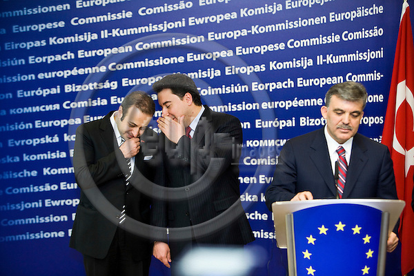 BRUSSELS - BELGIUM - 26 MARCH 2009 -- Turkey's President Abdullah Gul (R) hold a joint news conference with European Commission President while Turkey's chief EU negotiator Egemen Bagis (L) listen to Turkey's Foreign Minister Ali Babacan (2nd L)  at the EC headquarters in Brussels. Gul is on a one-day visit to Belgium. Photo: Erik Luntang/EUP-IMAGES