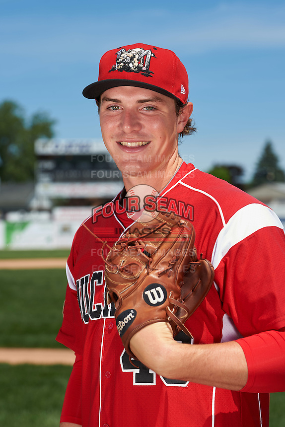 Batavia Muckdogs pitcher Ryley MacEachern (40) poses for a photo before the teams first practice on June 15, 2016 at Dwyer Stadium in Batavia, New York.  (Mike Janes/Four Seam Images)