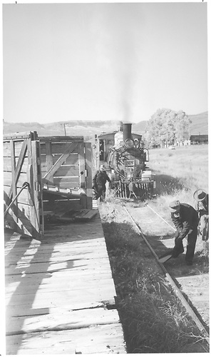 Picking up strays - Iola.<br /> D&amp;RGW  Sapinero Branch - Iola, CO  Taken by Richardson, Robert W. - 10/5/1952