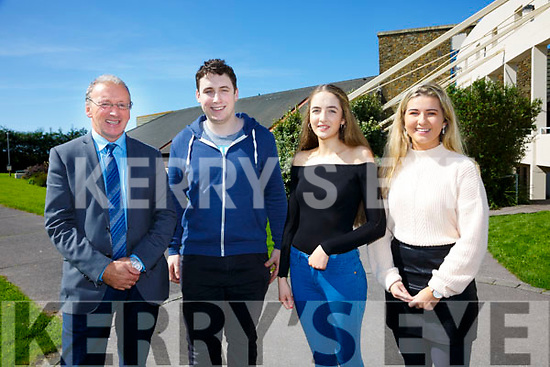 Three Colaiste na Sceilge students heading to Dublin to study Medicine pictured here with school principal John O'Connor were l-r; Liam King(Trinity), Dervla Donegan(Trinity) & Jackie Clifford(Royal College Surgeons Ireland).