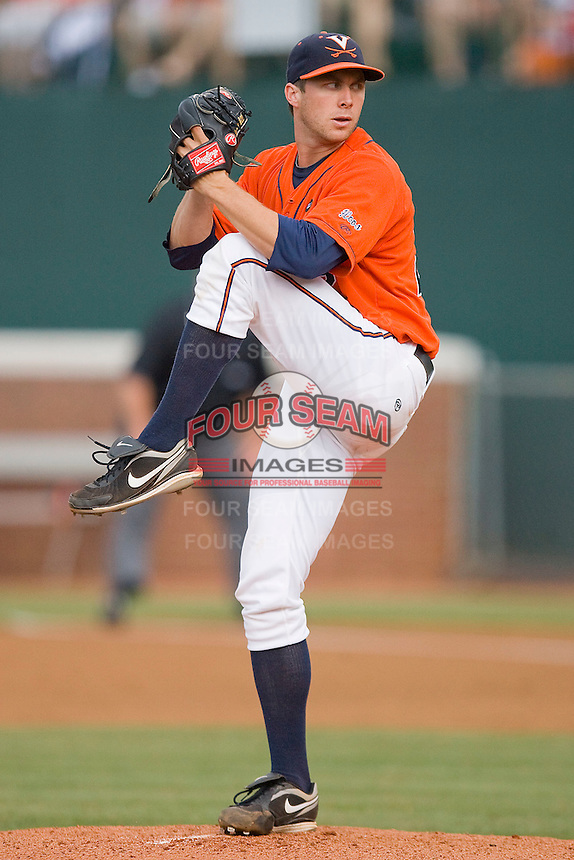 Starting pitcher Robert Morey #22 of the Virginia Cavaliers in action against the St. John's Red Storm at the Charlottesville Regional of the 2010 College World Series at Davenport Field on June 6, 2010, in Charlottesville, Virginia.  The Red Storm defeated the Cavaliers 6-5.   Photo by Brian Westerholt / Four Seam Images