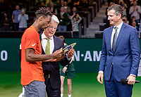 Rotterdam, The Netherlands, 17 Februari 2019, ABNAMRO World Tennis Tournament, Ahoy,  award ceremony, Winner Gael Monfils (FRA) gets the trophy handed over from the CEO of the ABNAMRO Bank Kees van Dijkhuizen right tournament director Richard Krajicek<br /> Photo: www.tennisimages.com/Henk Koster