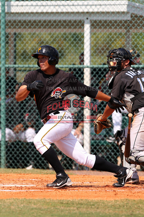 Pittsburgh Pirates minor league outfielder Jose Osuna vs. the Toronto Blue Jays during an Instructional League game at Pirate City in Bradenton, Florida;  October 11, 2010.  Photo By Mike Janes/Four Seam Images