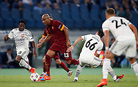 Calcio, Champions League, Gruppo E: Roma vs CSKA Mosca. Roma, stadio Olimpico, 17 settembre 2014.<br /> Roma defender Maicon, of Brazil, second from left, is challenged by CSKA Moskva forward Ahmed Musa, of Nigeria, left, Bebras Natcho, second from right, and Vasili Berezutski, during the Group E Champions League football match between AS Roma and CSKA Moskva at Rome's Olympic stadium, 17 September 2014.<br /> UPDATE IMAGES PRESS/Riccardo De Luca