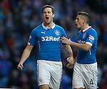 Jon Daly celebrates with Fraser Aird after scoring the fifth goal for Rangers