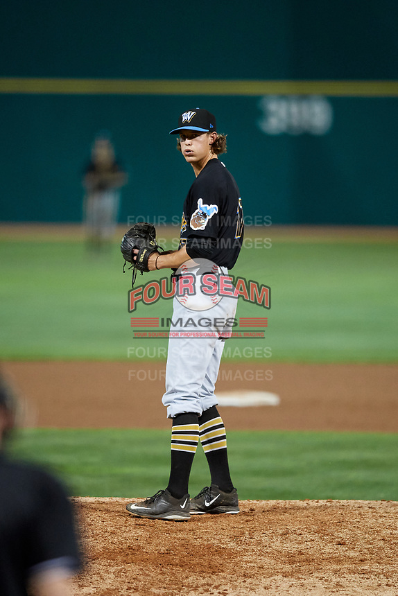 West Virginia Black Bears relief pitcher Shea Murray (17) gets ready to deliver a pitch during a game against the State College Spikes on August 30, 2018 at Medlar Field at Lubrano Park in State College, Pennsylvania.  West Virginia defeated State College 5-3.  (Mike Janes/Four Seam Images)