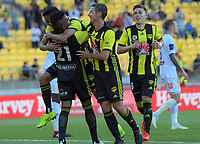 arpreet Singh celebrates his goal with Roy Krishna during the A-League football match between Wellington Phoenix and Central Coast Mariners at Westpac Stadium in Wellington, New Zealand on Saturday, 15 December 2018. Photo: Dave Lintott / lintottphoto.co.nz