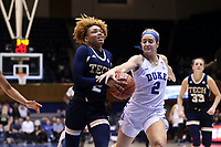DURHAM, NC - JANUARY 26: Jasmine Carson #2 of Georgia Tech has the ball stripped away by Haley Gorecki #2 of Duke University during a game between Georgia Tech and Duke at Cameron Indoor Stadium on January 26, 2020 in Durham, North Carolina.
