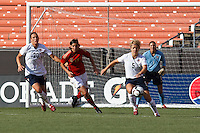 22 MAY 2010:  USA's Abby Wambach #20, Germany's Ariane Hingst #17, Lori Lindsey #5 and Hope Solo  #1 during the International Friendly soccer match between Germany WNT vs USA WNT at Cleveland Browns Stadium in Cleveland, Ohio on May 22, 2010.