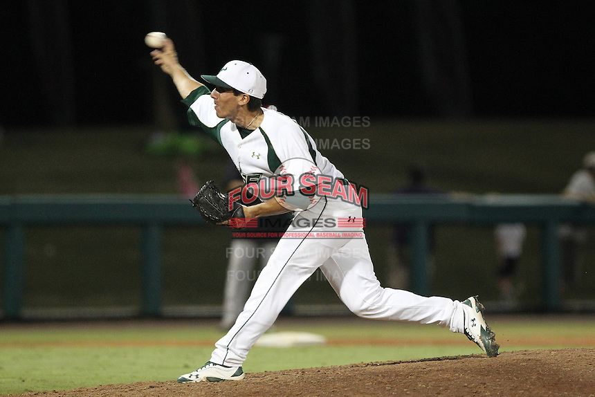 South Florida Bulls pitcher Adrian Puig #40 delivers a pitch during a game against the Illinois State Redbirds at the USF Baseball Complex on March 14, 2012 in Tampa, Florida.  South Florida defeated Illinois State 10-5.  (Mike Janes/Four Seam Images)