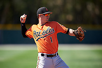 Baltimore Orioles Branden Becker (1) throws to first base during a minor league Spring Training game against the Minnesota Twins on March 17, 2017 at the Buck O'Neil Baseball Complex in Sarasota, Florida.  (Mike Janes/Four Seam Images)