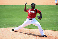 Nashville Sounds pitcher Ariel Pena (37) delivers a pitch during a game against the Omaha Storm Chasers on May 20, 2014 at Herschel Greer Stadium in Nashville, Tennessee.  Omaha defeated Nashville 4-1.  (Mike Janes/Four Seam Images)